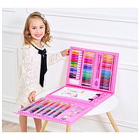 Набор художника для рисования с мольбертом 208 предметов в кейсе Розовый