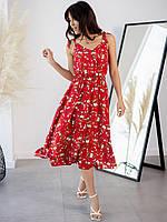 Яркое летнее платье-сарафан с растительным принтом средней длины 42-44