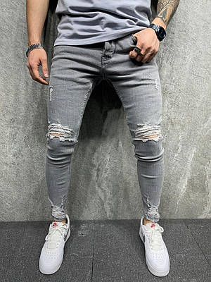 Джинсы серые мужские зауженные рваные с дырками на коленях