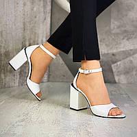 Женские кожаные босоножки на каблуке 36-40 р белый, фото 1