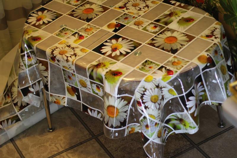 Скатерть кухонная силиконовая 3D эффект Ромашки, фото 3