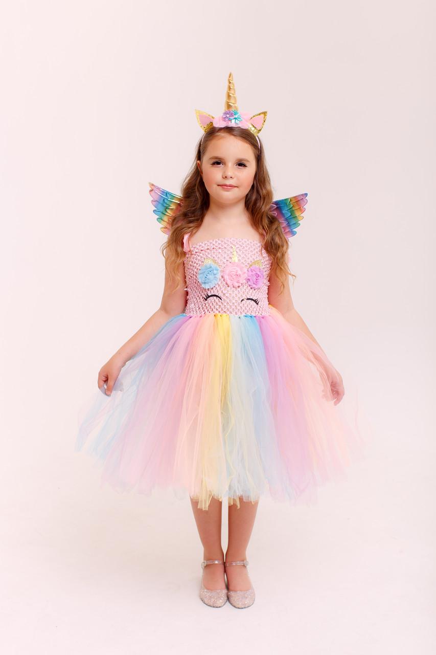 Розовое платье единорога для девочки