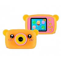 Дитячий цифровий фотоапарат XL 500R Ведмедик Оранжевий з рожевим, фото 1