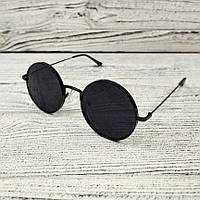 Модные круглые мужские солнцезащитные очки черные, качественные солнцезащитные очки с металлической оправой