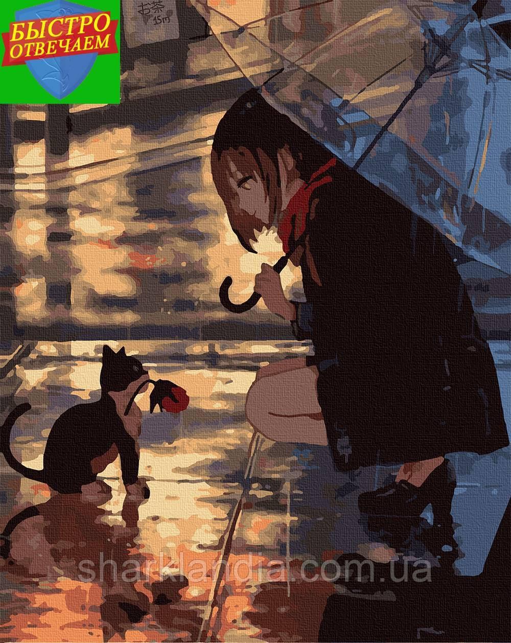 Картина за номерами Вечір для двох 40*50 см  Art Craft Розмальовки Аніме Наруто Манга Кот Прикольні