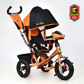 Велосипед триколісний Best Trike 3390/15-977 Чорно-помаранчевий | Велосипед-коляска з батьківською ручкою