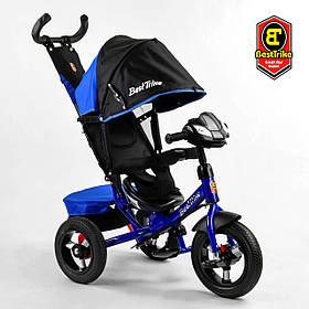 Велосипед триколісний Best Trike 3390/65-005 Чорно-синій | Велосипед-коляска з батьківською ручкою