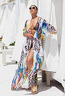 Женская летняя пляжная туника с шифона с принтом 42-50 длинная парео на море пляж накидка с поясом