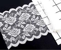 """Кружево стрейчевое, эластичное """"Амели"""" 15см ширина (цена за 1м) Цвет - Белый (заказ - кратно метру)"""