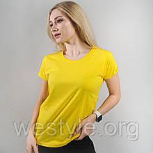 Футболка жіноча однотонна тканина - жовтий колір