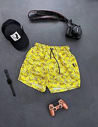 Чоловічі шорти з качечками (жовті) трикотажні на літо sff11