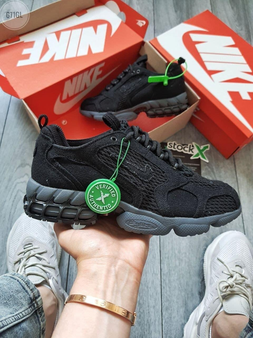 Жіночі кросівки Nike Air Zoom Spiridon Caged Stussy (чорні) кроси в сіточку 671GL