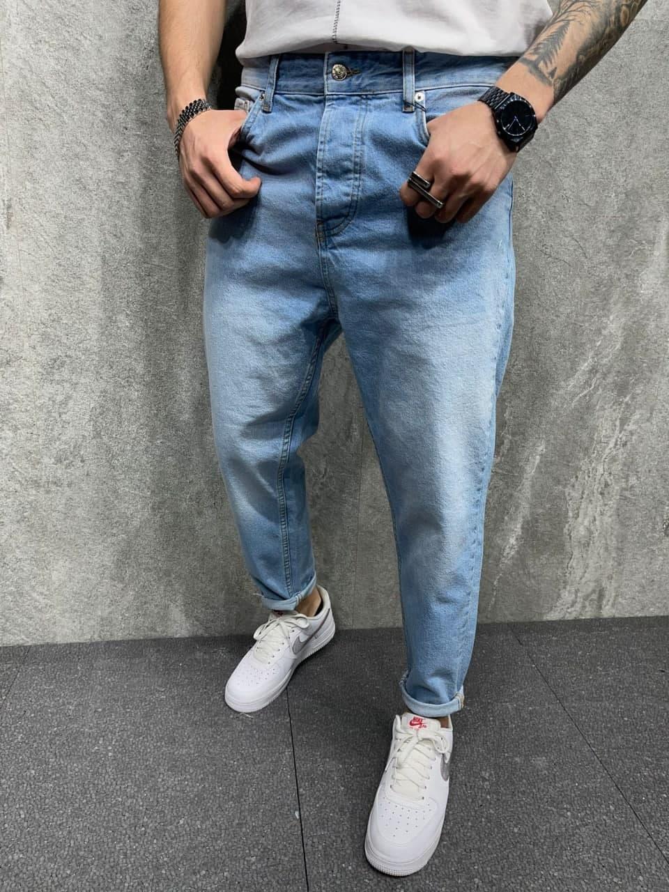 Чоловічі джинси завужені донизу (блакитні) стильні на літо s6296