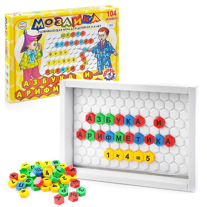 Развивающая игра мозаика азбука для самых маленьких малышей Технок с русскими буквами и цифрами 2087
