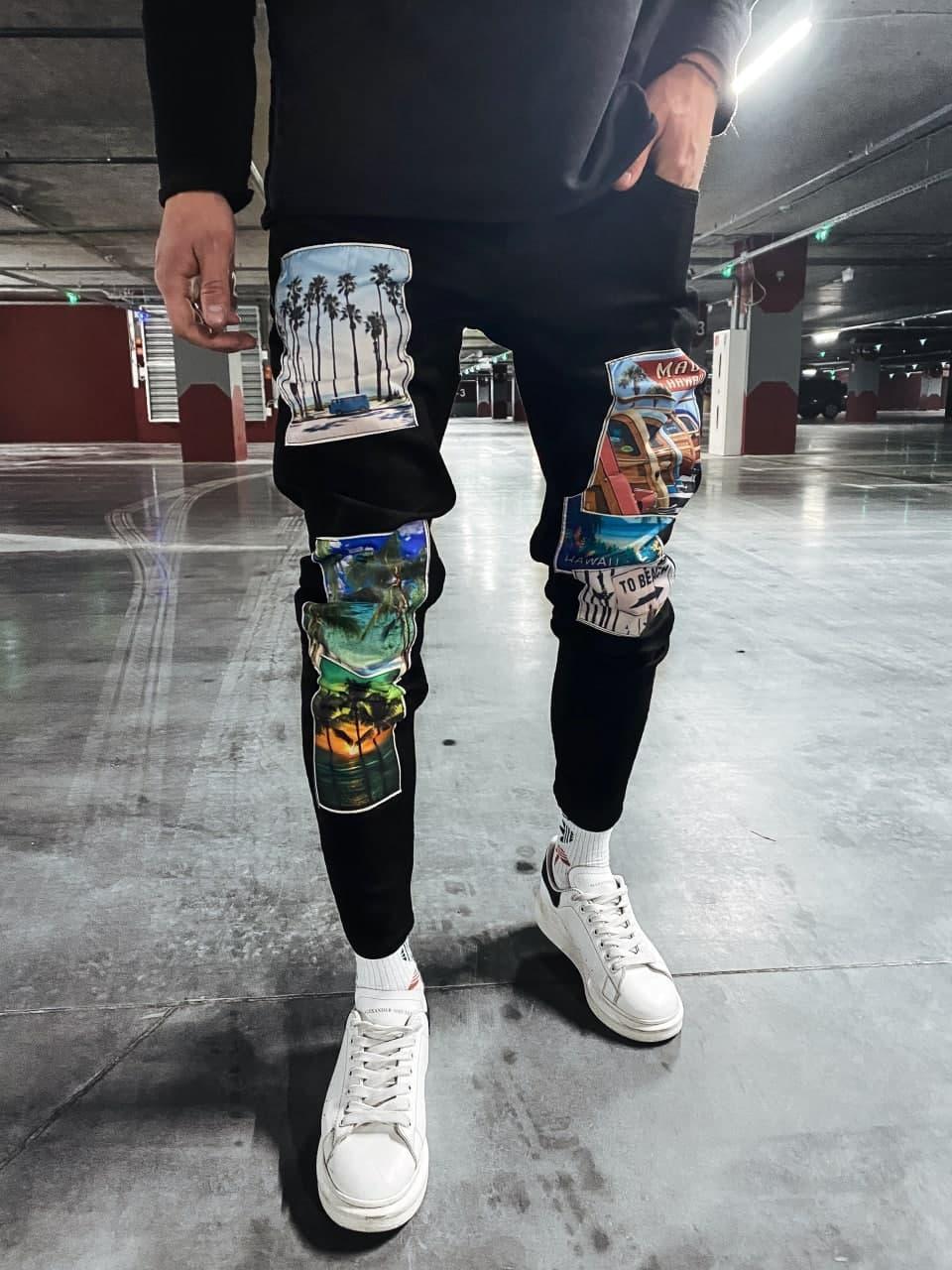 Чоловічі джинси завужені (чорні) із зображеннями пальм молодіжні штани s5628-1