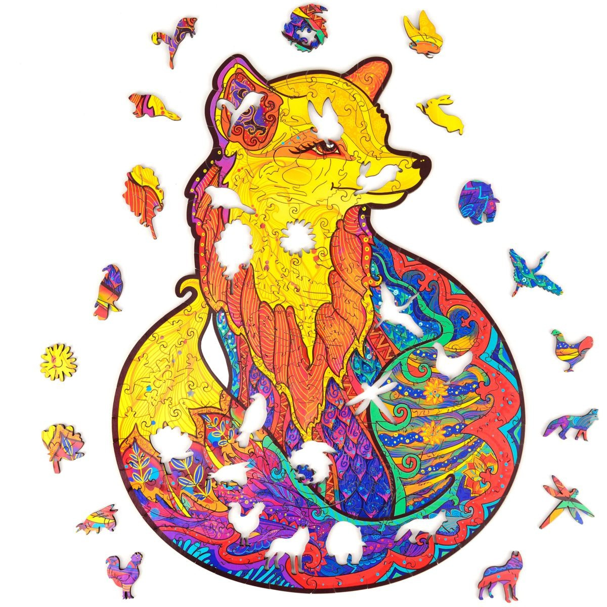 "Дизайнерские пазлы из дерева Лисица А5 ""Wooden jigsaw puzzle - Fox"", деревянные пазлы (дерев яний пазл) (NS)"