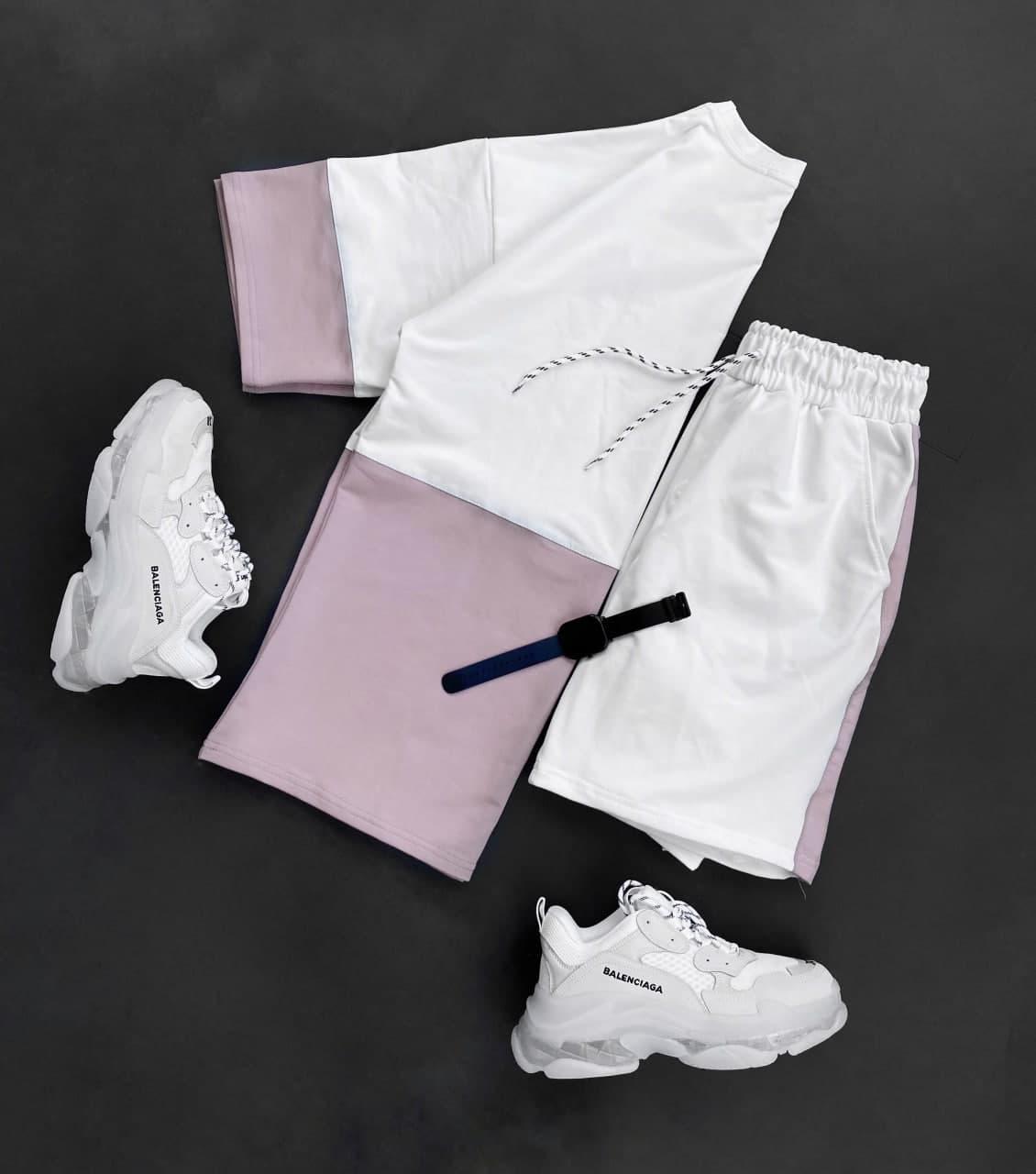 Мужской комплект шорты + футболка (пудра) двуцветная на лето sk70