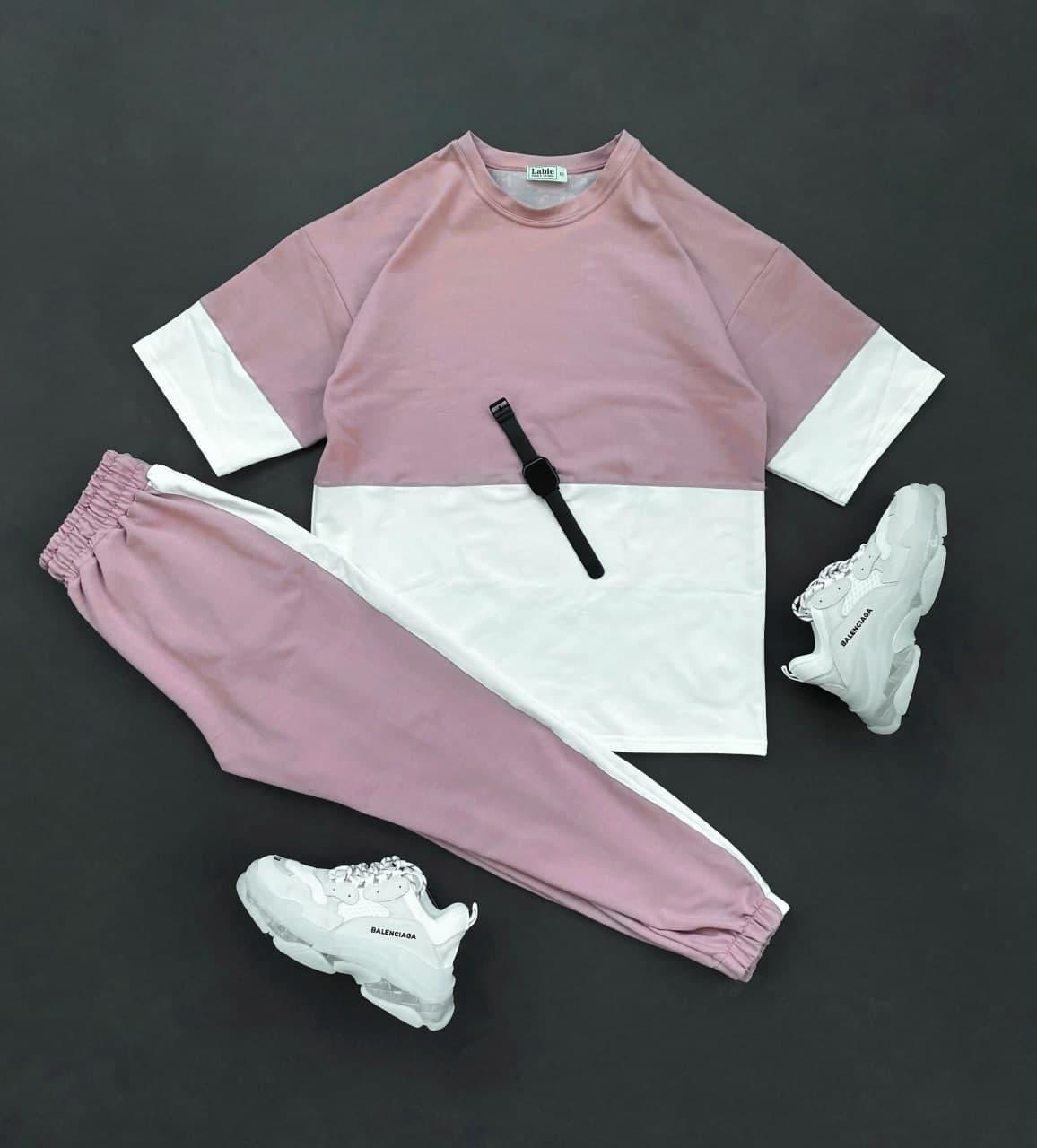 Чоловічий комплект шорти + футболка (пудра) різнобарвна на літо sk71
