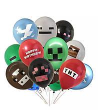 """Набір латексних кульок Minecraft Майнкрафт 12"""" 30см Китай 6шт"""