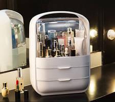 Настольный органайзер стойка для косметики на 3 секции. Бокс для хранения косметики 2 цвета.