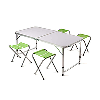 Стол туристический складной + 4 стула КЕМПИНГ XN-12064 (120х60х70см/41х29х4см), зеленый