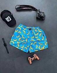 Чоловічі шорти плавальні (блакитні) трикотажні з бананами на літо sff14