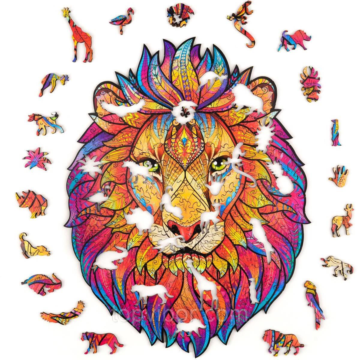 """Пазлы из дерева для взрослых А5 """"Wooden jigsaw puzzle - Mysterious lion"""", фигурный деревянный пазл лев (VT)"""