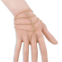 Східне прикраса на руку Слейв ланцюжок браслет через палець золото №14, фото 1