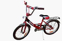 Детский велосипед с дополнительными колёсами Марс 16 красный / черный