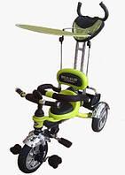 Велосипед детский 3-х колесный с родительской ручкой Mars Trike салатовый