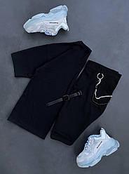 Класичні чоловічі шорти (чорні) тканинні літні s070