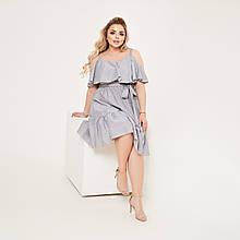 Жіноче літнє плаття з рюшами Софт Розмір 48-50 52-54 56-58 60-62 В наявності 4 кольори