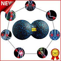 Массажный мяч двойной 4FIZJO Epp DuoBall 08 4FJ1318 Black-Bluе, двойной мячик арахис для йоги и массажа Mix