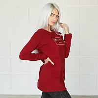Свитшот кофта для беременных и кормящих свитер - Бордо C удобным секретом, для доступа к груди