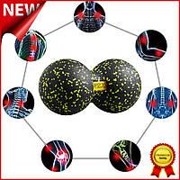 Массажный мяч двойной 4FIZJO Epp DuoBall 08 4FJ0083 Black-Yellow, двойной мячик арахис для йоги и массажа Mix