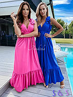 Женский летний длинный сарафан с высокой талией красный розовый электрик черный 42-44 44-46 48-50 50-52 софт