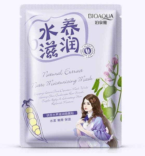 Маска для обличчя Bioaqua з екстрактом сої Natural Extract Natto Moisturizing Mask, 30г