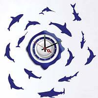 """Декоративная виниловая наклейка NL20, Часы-наклейка  """"рыбы"""" 1*AА батарея( в комплект не входит), Feron"""