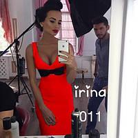 Платье женское с бантиком красное ИП/-011