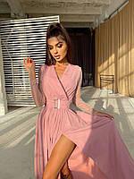 Вечернее платье с запахом на груди и поясом с разрезом на ноге и сеткой на рукавах нарядное (р. S-L) 66032640Е