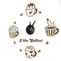 """Декоративная виниловая наклейка NL23, Часы-наклейка  """"кофе"""" 1*AА батарея( в комплект не входит), Feron"""