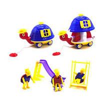 """Розсувна каталка на мотузочці """"Черепаха"""" з іграшками (синя) 5109"""