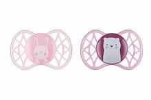 Пустышки для новорожденных, силиконовые симметричные, розовые, для девочек, 2 шт, Nuvita