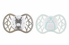 Пустышки для новорожденных, силиконовые симметричные, Зебра и Пингвин, 2 шт, Nuvita