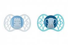 Пустышки для новорожденных, силиконовые симметричные, голубые, для мальчика, 2 шт, Nuvita