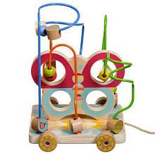 """Дерев'яна іграшка лабіринт каталка """"Метелик"""" на мотузочці, Lucy&Leo"""