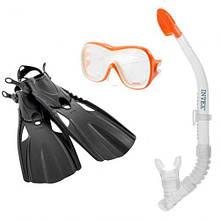 Маска с трубкой для подводного плавания детская от 14 лет, Intex