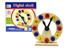 """Дерев'яна іграшка """"навчаємо часу дитини"""", годинник на підставці, Руді"""