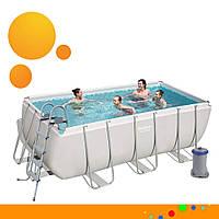 Каркасный прямоугольный бассейн Bestway 56456 (412х201х122 см, 8124 л, лестница, фильтр) Серый Ultra Frame