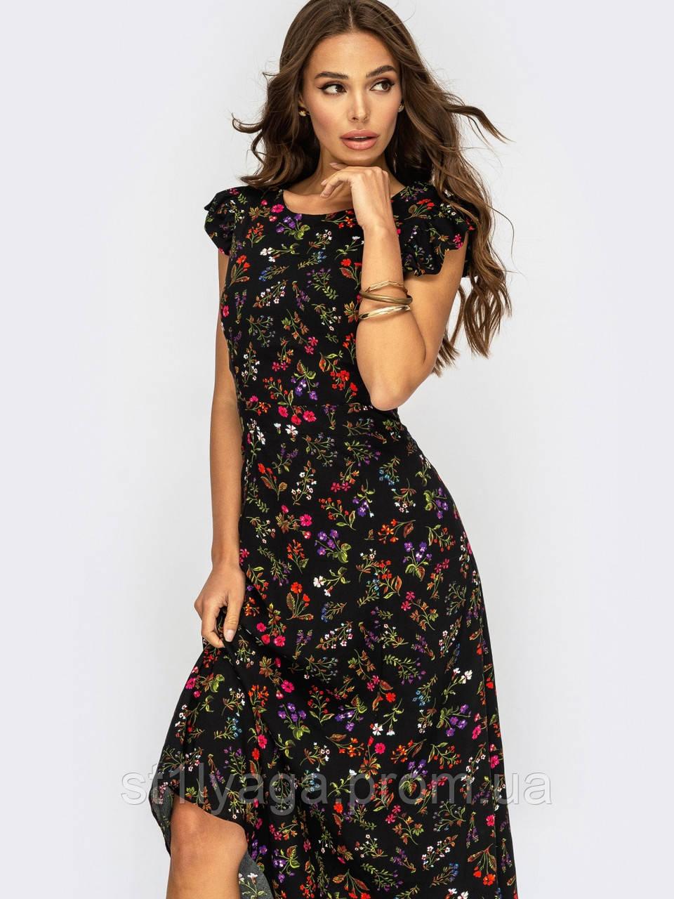 Плаття-міді в квітковому принте з вирізом по спинці ЛІТО